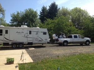Here we have our truck, Goldwing and camper.